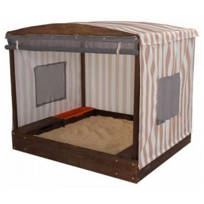 Bac à sable avec tente - Beige et blanc à rayures