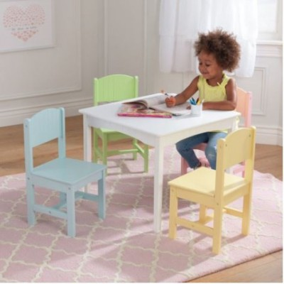 Ensemble table Nantucket + 4 chaises - Pastel