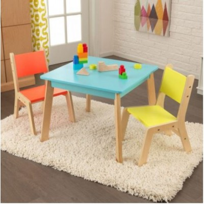 Ensemble table moderne + 2 chaises - Couleurs vives