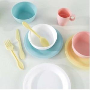 Ensemble de vaisselles et ustensiles pour cuisine d'enfants 27 Pièces - Couleurs pastels
